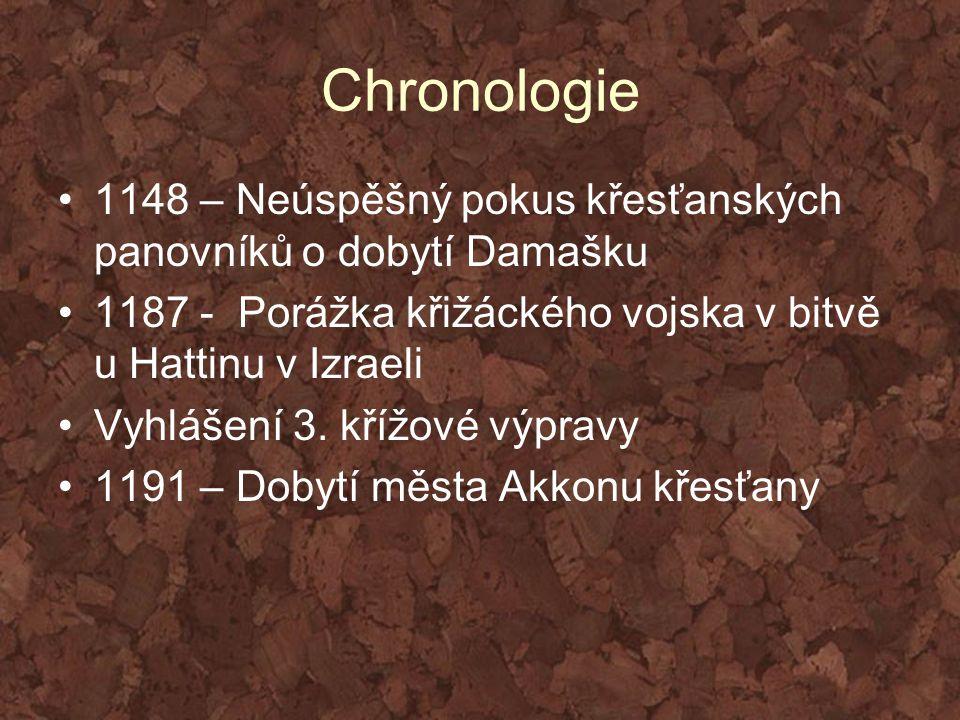 Chronologie 1148 – Neúspěšný pokus křesťanských panovníků o dobytí Damašku 1187 - Porážka křižáckého vojska v bitvě u Hattinu v Izraeli Vyhlášení 3. k
