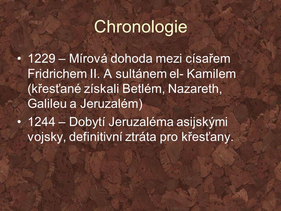 Chronologie 1229 – Mírová dohoda mezi císařem Fridrichem II. A sultánem el- Kamilem (křesťané získali Betlém, Nazareth, Galileu a Jeruzalém) 1244 – Do