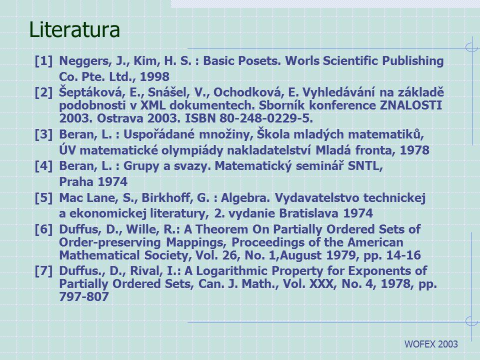WOFEX 2003 Literatura [1]Neggers, J., Kim, H. S. : Basic Posets. Worls Scientific Publishing Co. Pte. Ltd., 1998 [2]Šeptáková, E., Snášel, V., Ochodko