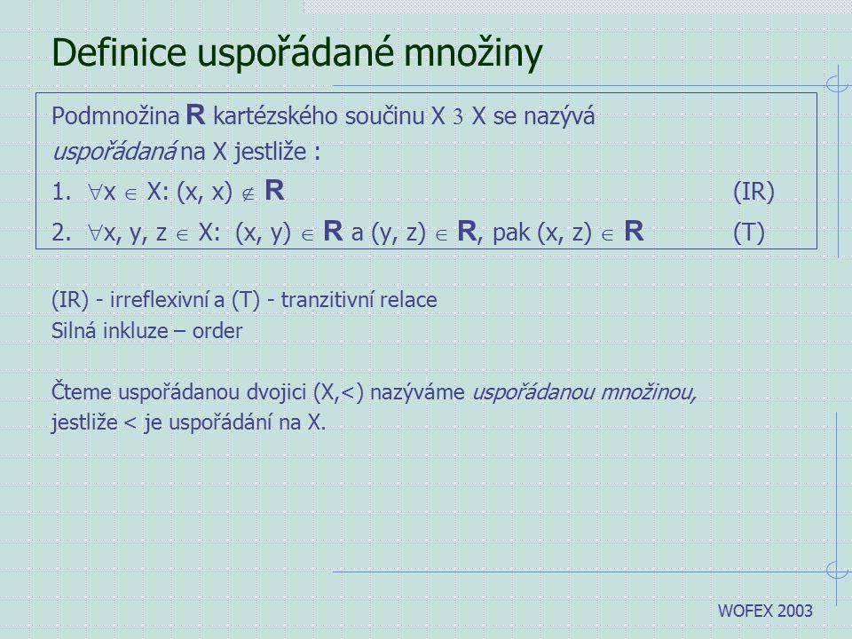 WOFEX 2003 Definice uspořádané množiny Podmnožina R kartézského součinu X  X se nazývá uspořádaná na X jestliže : 1.  x  X: (x, x)  R (IR) 2.  x,