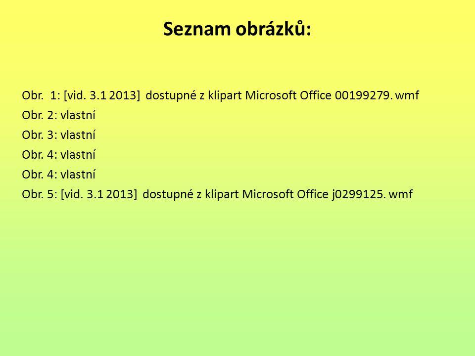 Seznam obrázků: Obr. 1: [vid. 3.1 2013] dostupné z klipart Microsoft Office 00199279. wmf Obr. 2: vlastní Obr. 3: vlastní Obr. 4: vlastní Obr. 5: [vid