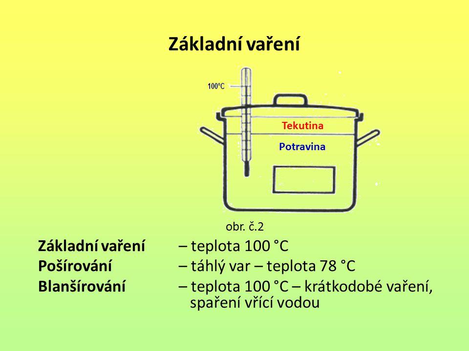 Základní vaření obr. č.2 Základní vaření – teplota 100 °C Pošírování – táhlý var – teplota 78 °C Blanšírování – teplota 100 °C – krátkodobé vaření, sp