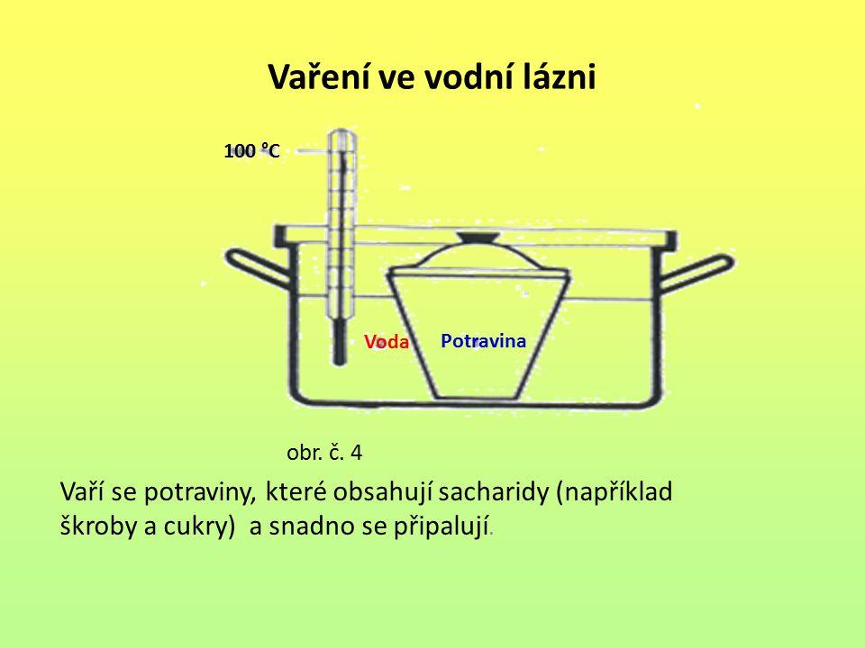 Vaření ve vodní lázni obr. č. 4 Vaří se potraviny, které obsahují sacharidy (například škroby a cukry) a snadno se připalují. Potravina Voda 100 °C