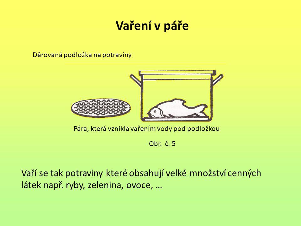Vaří se tak potraviny které obsahují velké množství cenných látek např. ryby, zelenina, ovoce, … Vaření v páře Děrovaná podložka na potraviny Pára, kt