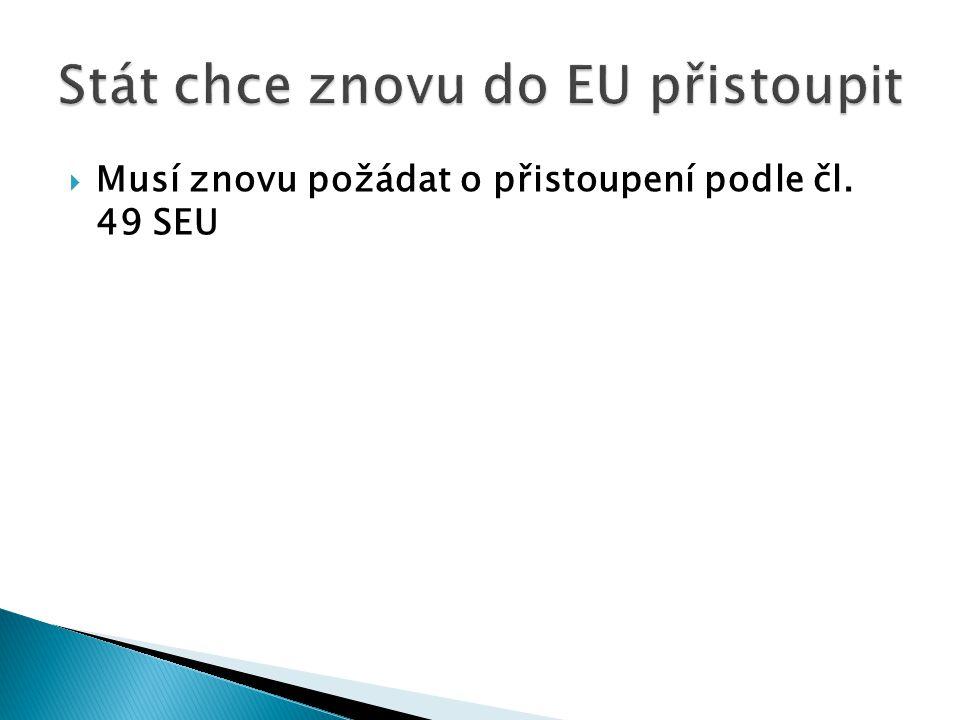 Musí znovu požádat o přistoupení podle čl. 49 SEU