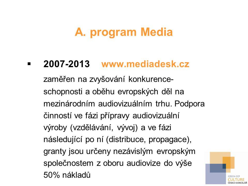 A. program Media  2007-2013 www.mediadesk.cz zaměřen na zvyšování konkurence- schopnosti a oběhu evropských děl na mezinárodním audiovizuálním trhu.