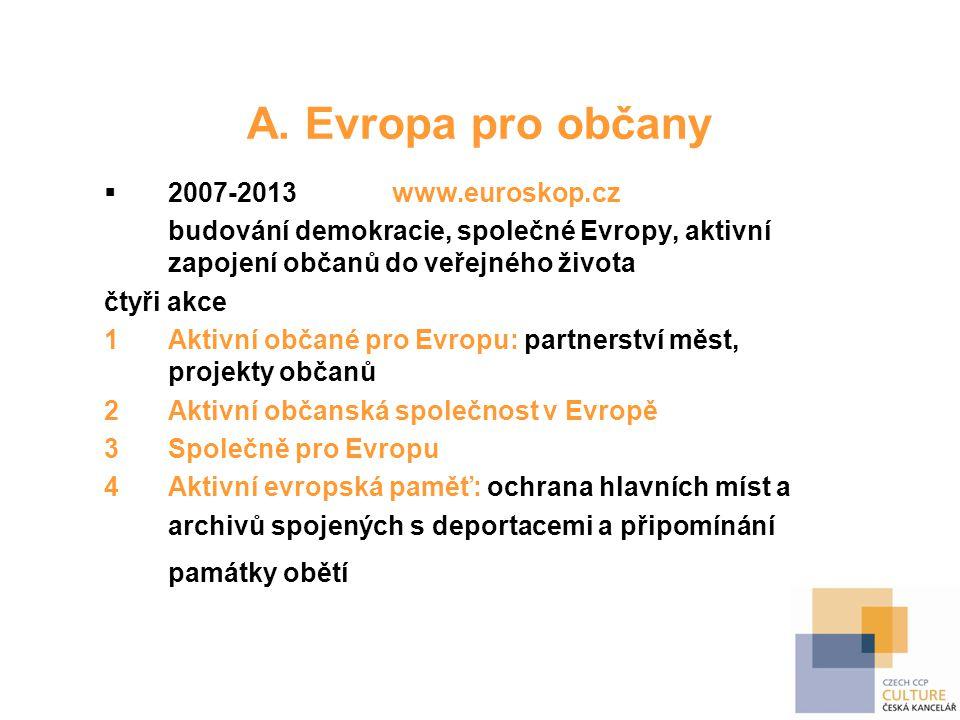 A. Evropa pro občany  2007-2013www.euroskop.cz budování demokracie, společné Evropy, aktivní zapojení občanů do veřejného života čtyři akce 1Aktivní