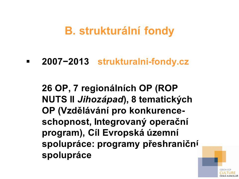 B. strukturální fondy  2007−2013strukturalni-fondy.cz 26 OP, 7 regionálních OP (ROP NUTS II Jihozápad), 8 tematických OP (Vzdělávání pro konkurence-