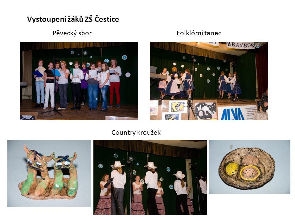 Vystoupení žáků ZŠ Čestice Pěvecký sbor Folklórní tanec Country kroužek