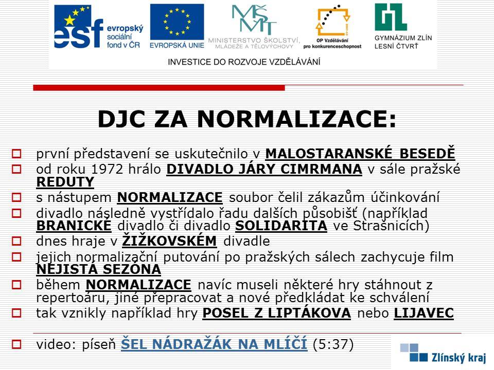 DJC ZA NORMALIZACE:  první představení se uskutečnilo v MALOSTARANSKÉ BESEDĚ  od roku 1972 hrálo DIVADLO JÁRY CIMRMANA v sále pražské REDUTY  s nás
