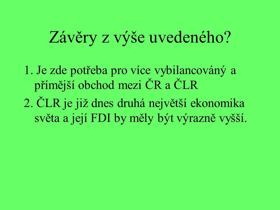 Závěry z výše uvedeného? 1. Je zde potřeba pro více vybilancováný a přímější obchod mezi ČR a ČLR 2. ČLR je již dnes druhá největší ekonomika světa a