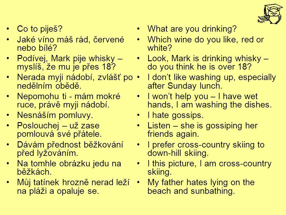 Co to piješ? Jaké víno máš rád, červené nebo bílé? Podívej, Mark pije whisky – myslíš, že mu je přes 18? Nerada myji nádobí, zvlášť po nedělním obědě.