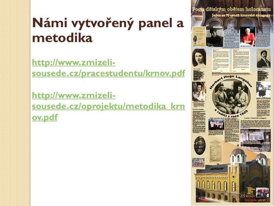 Námi vytvořený panel a metodika http://www.zmizeli- sousede.cz/pracestudentu/krnov.pdf http://www.zmizeli- sousede.cz/oprojektu/metodika_krn ov.pdf