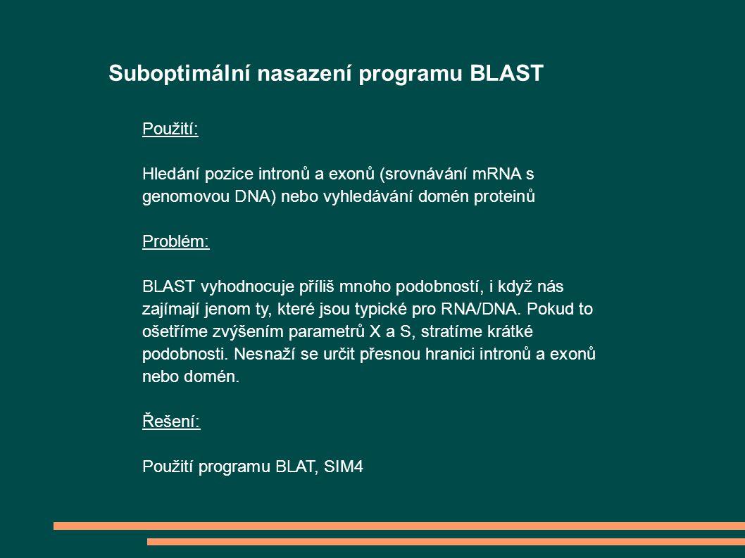 Suboptimální nasazení programu BLAST Použití: Hledání pozice intronů a exonů (srovnávání mRNA s genomovou DNA) nebo vyhledávání domén proteinů Problém: BLAST vyhodnocuje příliš mnoho podobností, i když nás zajímají jenom ty, které jsou typické pro RNA/DNA.