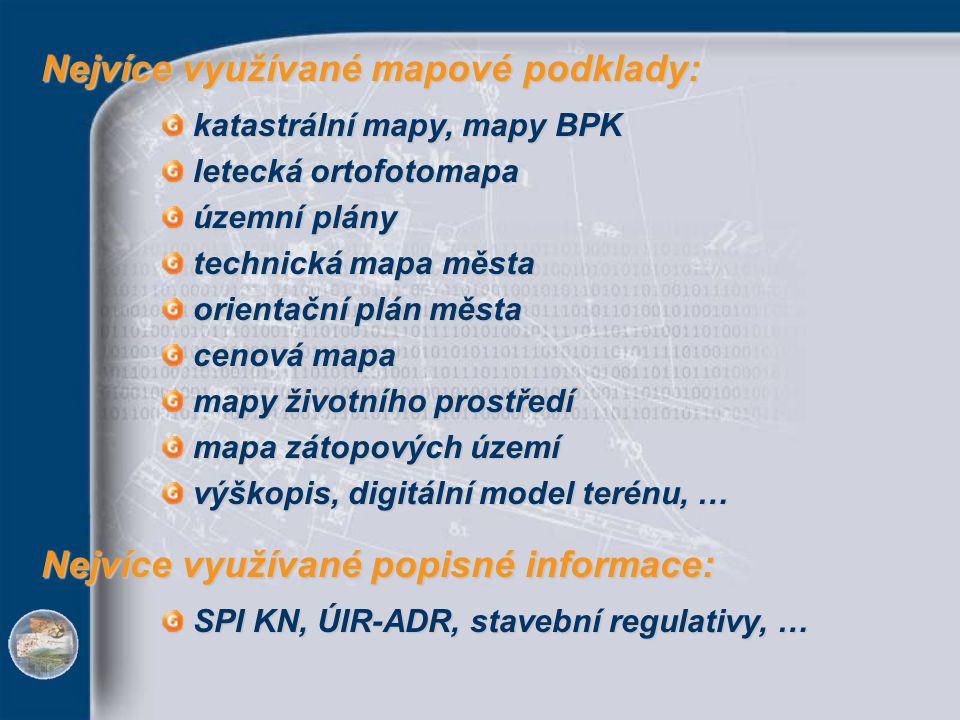 katastrální mapy, mapy BPK letecká ortofotomapa územní plány technická mapa města orientační plán města cenová mapa mapy životního prostředí mapa záto