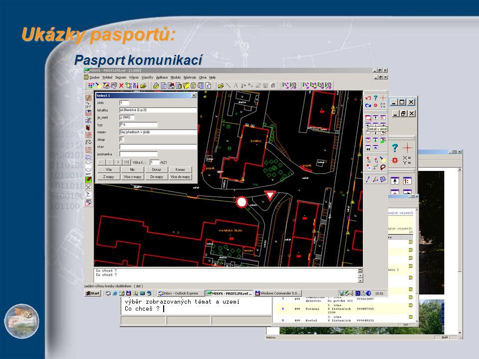 Pasport střežených objektů Ukázky pasportů Ukázky pasportů: Hluková mapa města - dokumentace Pasport komunikací