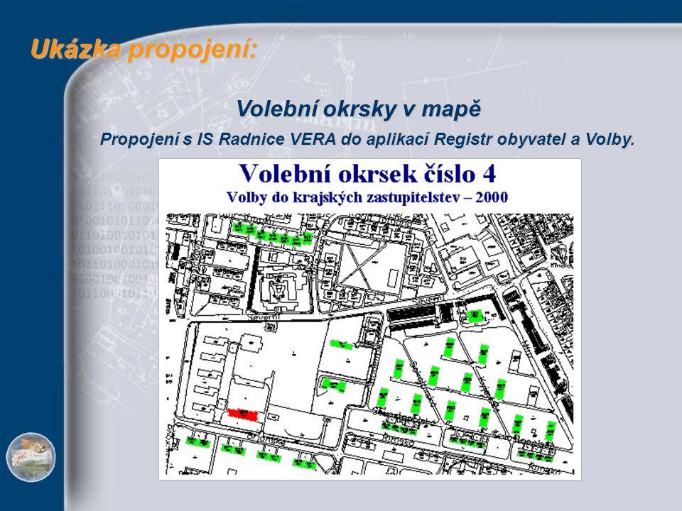 Ukázka propojení: Ukázka propojení: Volební okrsky v mapě Propojení s IS Radnice VERA do aplikací Registr obyvatel a Volby.
