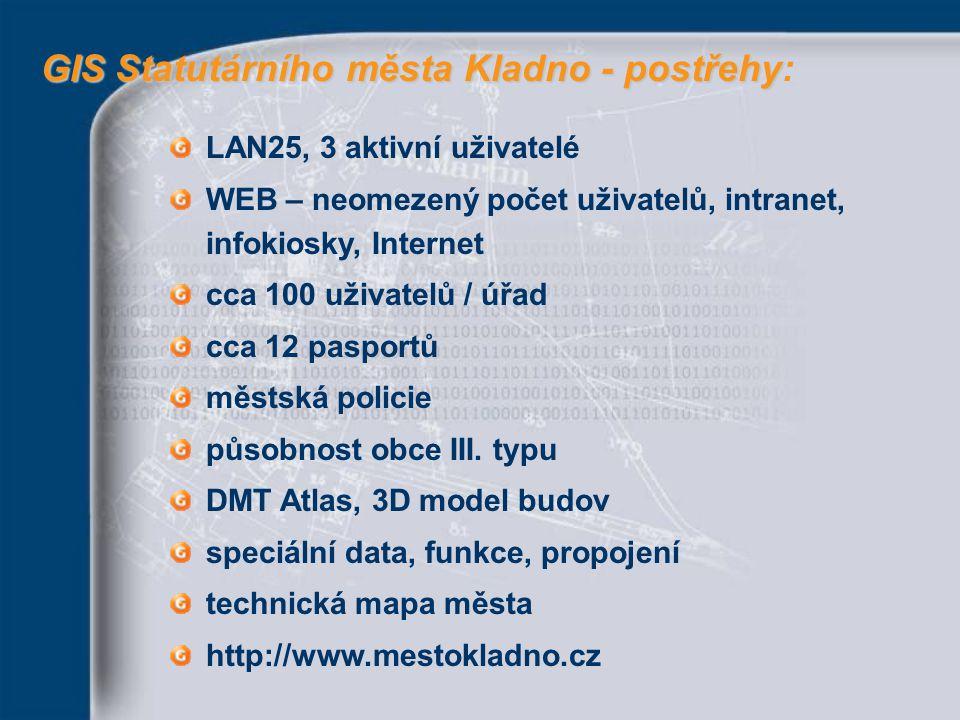 GIS Statutárního města Kladno - postřehy GIS Statutárního města Kladno - postřehy: LAN25, 3 aktivní uživatelé WEB – neomezený počet uživatelů, intrane