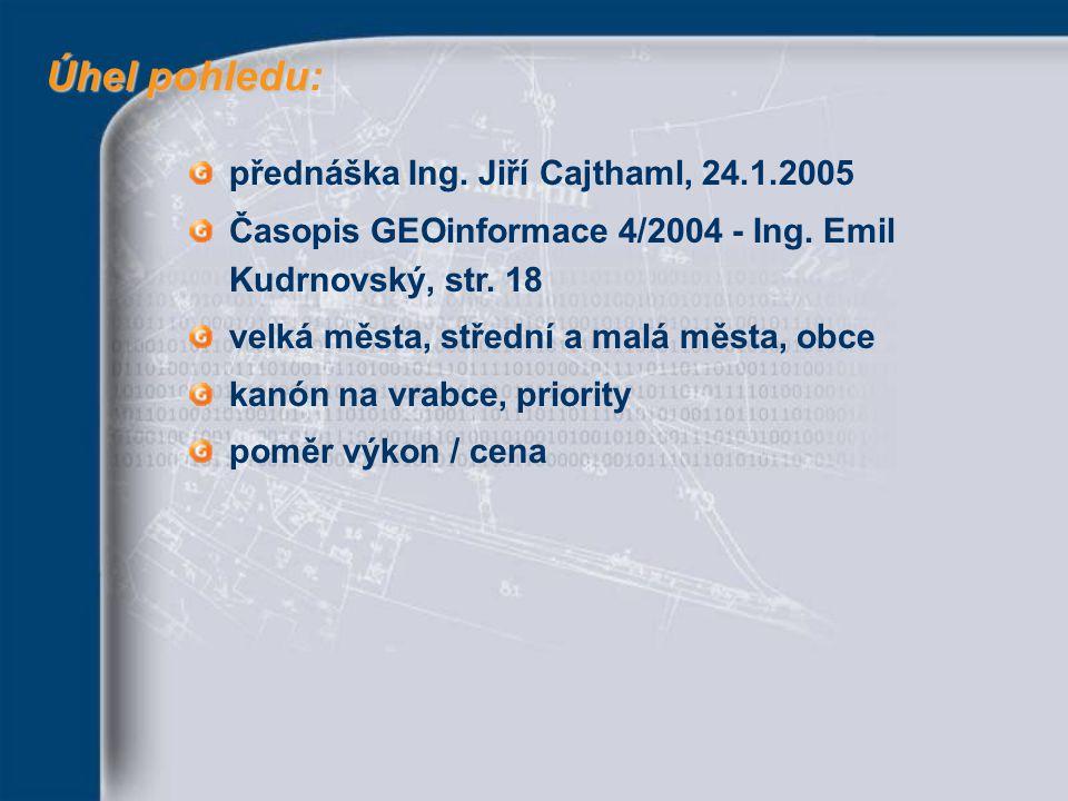 Úhel pohledu Úhel pohledu: přednáška Ing. Jiří Cajthaml, 24.1.2005 Časopis GEOinformace 4/2004 - Ing. Emil Kudrnovský, str. 18 velká města, střední a
