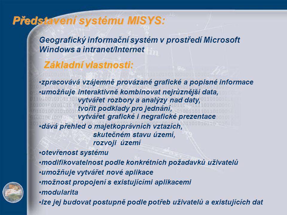 Představení systému MISYS Představení systému MISYS: Geografický informační systém v prostředí Microsoft Windows a intranet/Internet zpracovává vzájem