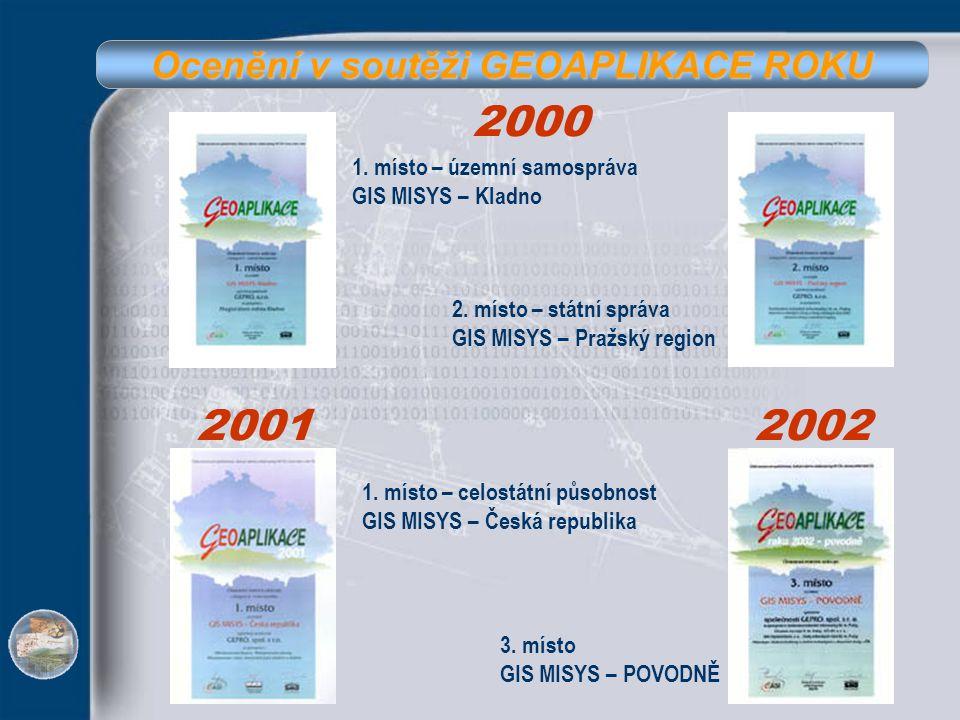 Ocenění v soutěži GEOAPLIKACE ROKU 2000 2001 1. místo – územní samospráva GIS MISYS – Kladno 2. místo – státní správa GIS MISYS – Pražský region 1. mí