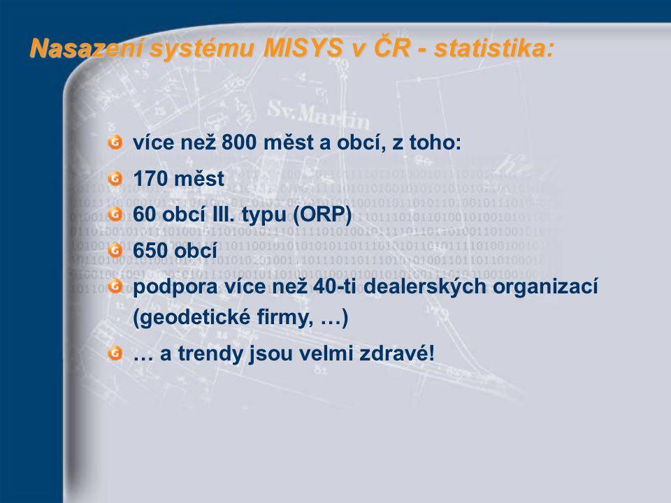 více než 800 měst a obcí, z toho: 170 měst 60 obcí III. typu (ORP) 650 obcí podpora více než 40-ti dealerských organizací (geodetické firmy, …) … a tr