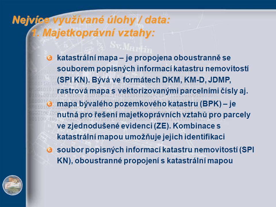 Nejvíce využívané úlohy / data: 1. Majetkoprávní vztahy: Nejvíce využívané úlohy / data: 1. Majetkoprávní vztahy: katastrální mapa – je propojena obou
