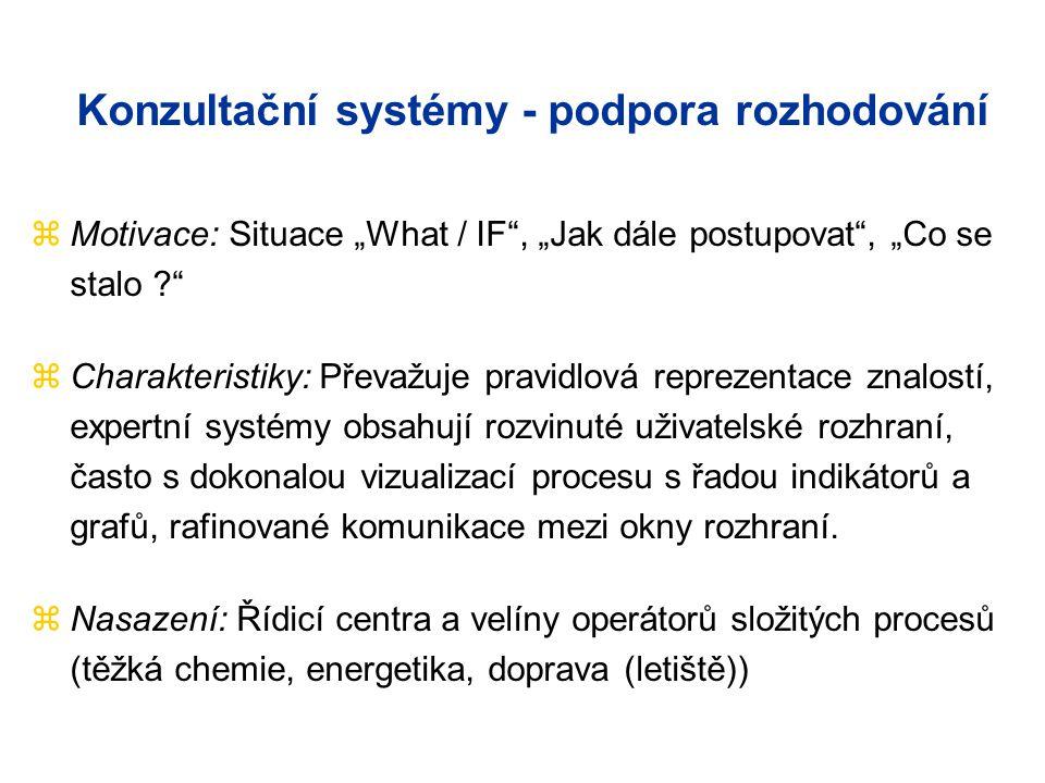 """Konzultační systémy - podpora rozhodování zMotivace: Situace """"What / IF , """"Jak dále postupovat , """"Co se stalo zCharakteristiky: Převažuje pravidlová reprezentace znalostí, expertní systémy obsahují rozvinuté uživatelské rozhraní, často s dokonalou vizualizací procesu s řadou indikátorů a grafů, rafinované komunikace mezi okny rozhraní."""