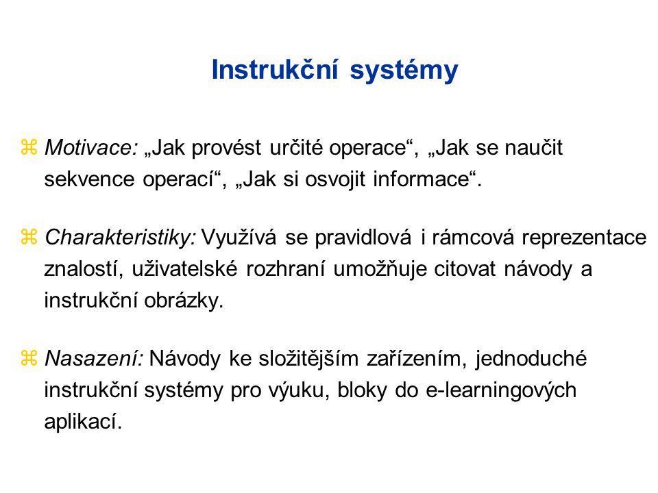 """Instrukční systémy zMotivace: """"Jak provést určité operace"""", """"Jak se naučit sekvence operací"""", """"Jak si osvojit informace"""". zCharakteristiky: Využívá se"""