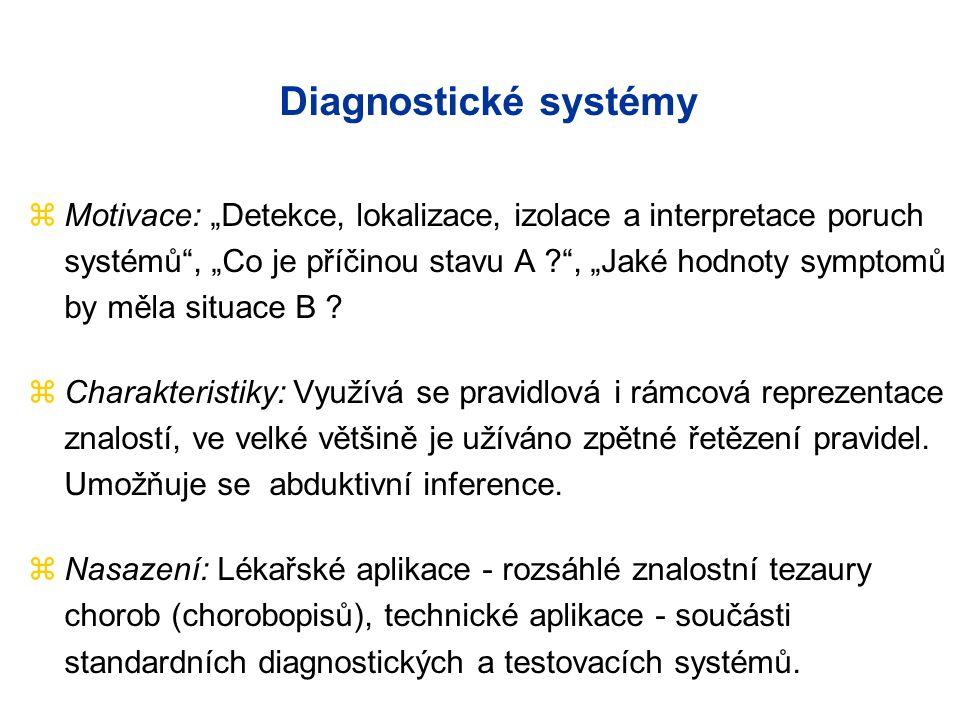 """Diagnostické systémy zMotivace: """"Detekce, lokalizace, izolace a interpretace poruch systémů , """"Co je příčinou stavu A , """"Jaké hodnoty symptomů by měla situace B ."""