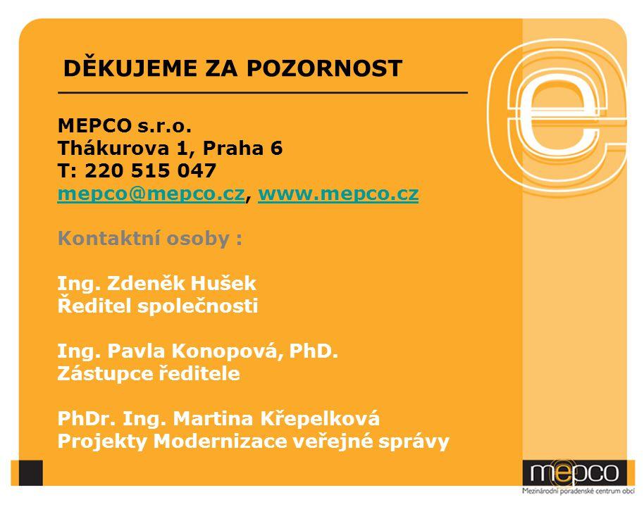 DĚKUJEME ZA POZORNOST MEPCO s.r.o. Thákurova 1, Praha 6 T: 220 515 047 mepco@mepco.czmepco@mepco.cz, www.mepco.czwww.mepco.cz Kontaktní osoby : Ing. Z