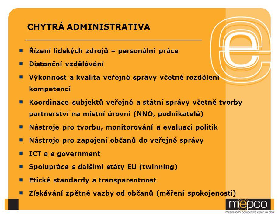 CHYTRÁ ADMINISTRATIVA Řízení lidských zdrojů – personální práce Distanční vzdělávání Výkonnost a kvalita veřejné správy včetně rozdělení kompetencí Koordinace subjektů veřejné a státní správy včetně tvorby partnerství na místní úrovni (NNO, podnikatelé) Nástroje pro tvorbu, monitorování a evaluaci politik Nástroje pro zapojení občanů do veřejné správy ICT a e government Spolupráce s dalšími státy EU (twinning) Etické standardy a transparentnost Získávání zpětné vazby od občanů (měření spokojenosti)