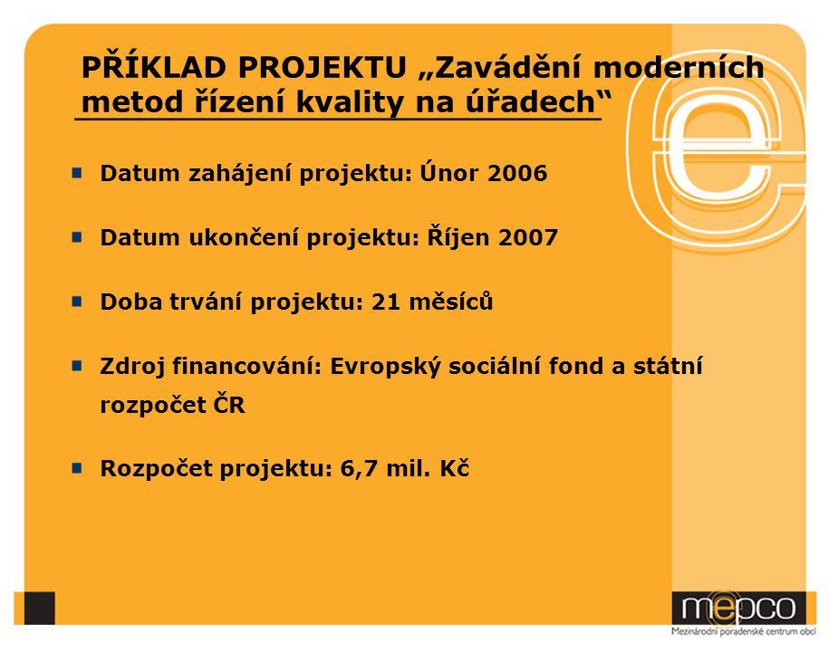 """PŘÍKLAD PROJEKTU """"Zavádění moderních metod řízení kvality na úřadech"""" Datum zahájení projektu: Únor 2006 Datum ukončení projektu: Říjen 2007 Doba trvá"""
