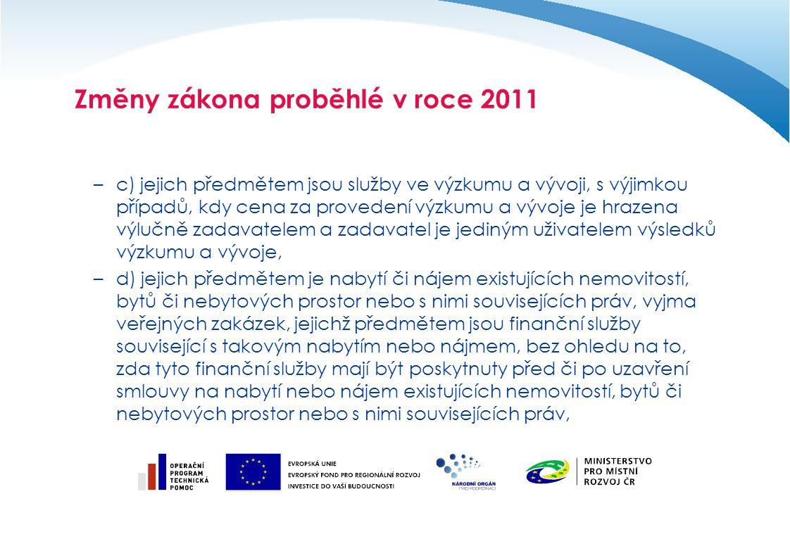 Změny zákona proběhlé v roce 2011 –c) jejich předmětem jsou služby ve výzkumu a vývoji, s výjimkou případů, kdy cena za provedení výzkumu a vývoje je