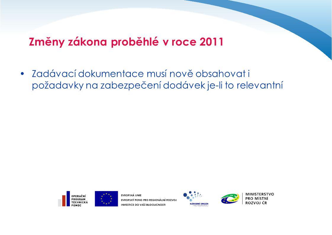 Zadávací dokumentace musí nově obsahovat i požadavky na zabezpečení dodávek je-li to relevantní Změny zákona proběhlé v roce 2011
