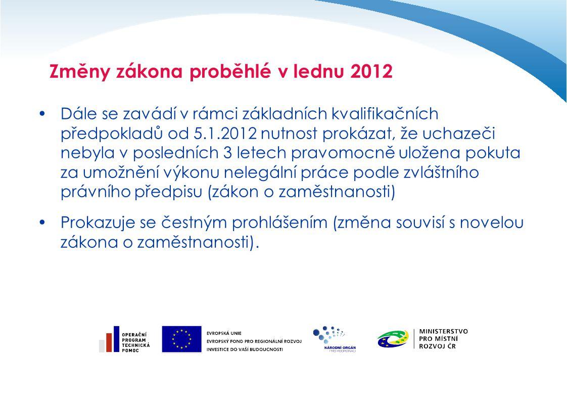 Dále se zavádí v rámci základních kvalifikačních předpokladů od 5.1.2012 nutnost prokázat, že uchazeči nebyla v posledních 3 letech pravomocně uložena