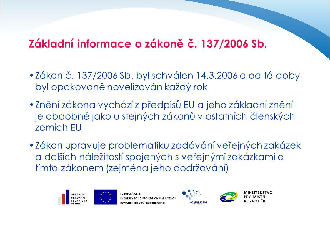 Základní informace o zákoně č. 137/2006 Sb. Zákon č. 137/2006 Sb. byl schválen 14.3.2006 a od té doby byl opakovaně novelizován každý rok Znění zákona