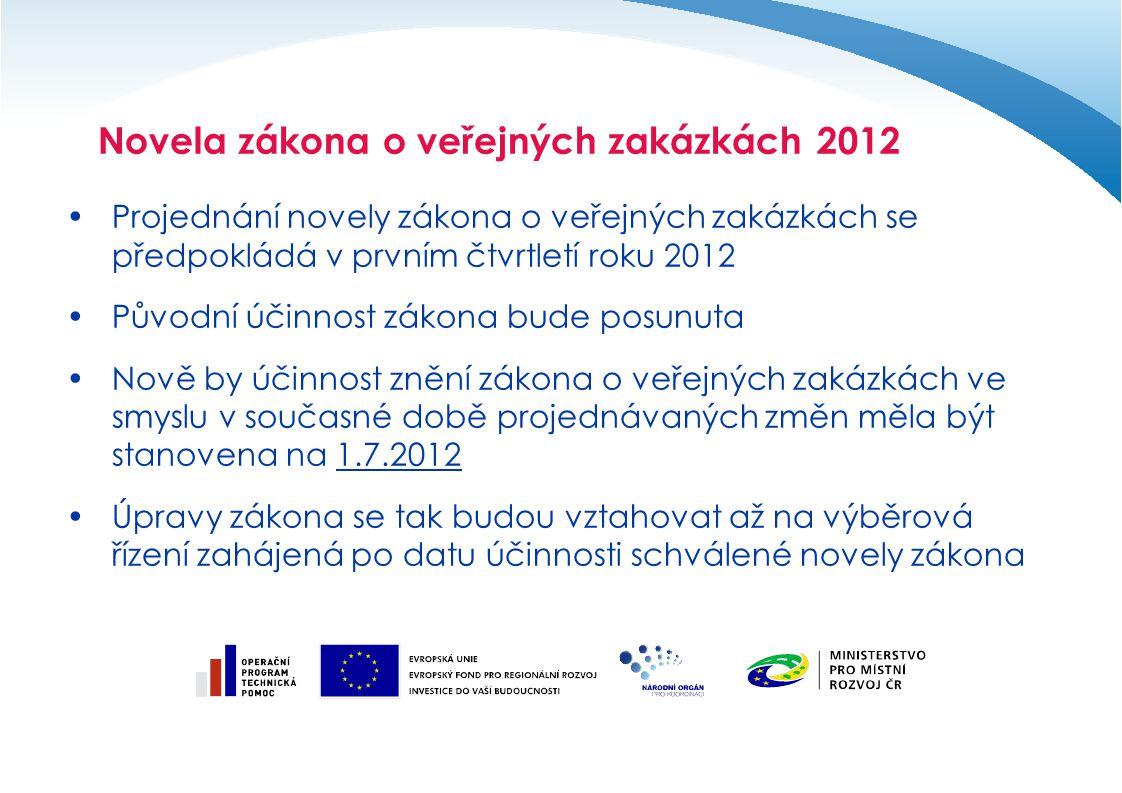Projednání novely zákona o veřejných zakázkách se předpokládá v prvním čtvrtletí roku 2012 Původní účinnost zákona bude posunuta Nově by účinnost zněn