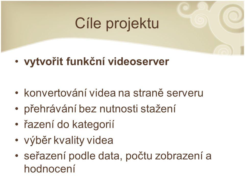 Cíle projektu vytvořit funkční videoserver konvertování videa na straně serveru přehrávání bez nutnosti stažení řazení do kategorií výběr kvality vide