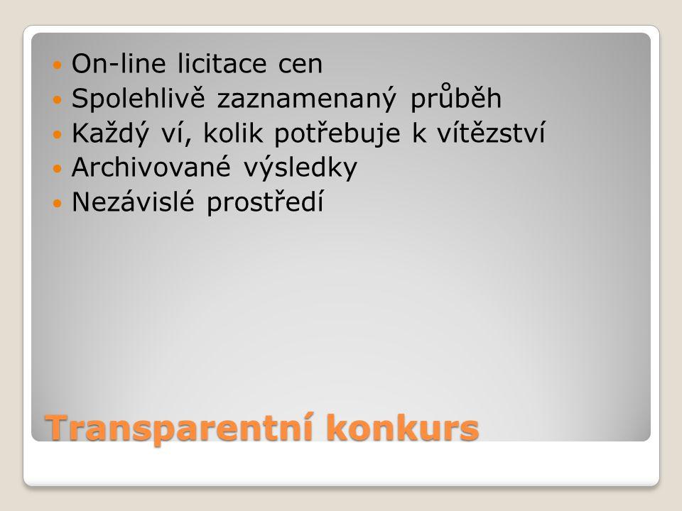 Transparentní konkurs On-line licitace cen Spolehlivě zaznamenaný průběh Každý ví, kolik potřebuje k vítězství Archivované výsledky Nezávislé prostřed