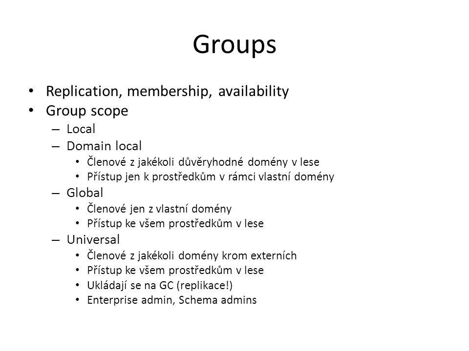 Groups Replication, membership, availability Group scope – Local – Domain local Členové z jakékoli důvěryhodné domény v lese Přístup jen k prostředkům