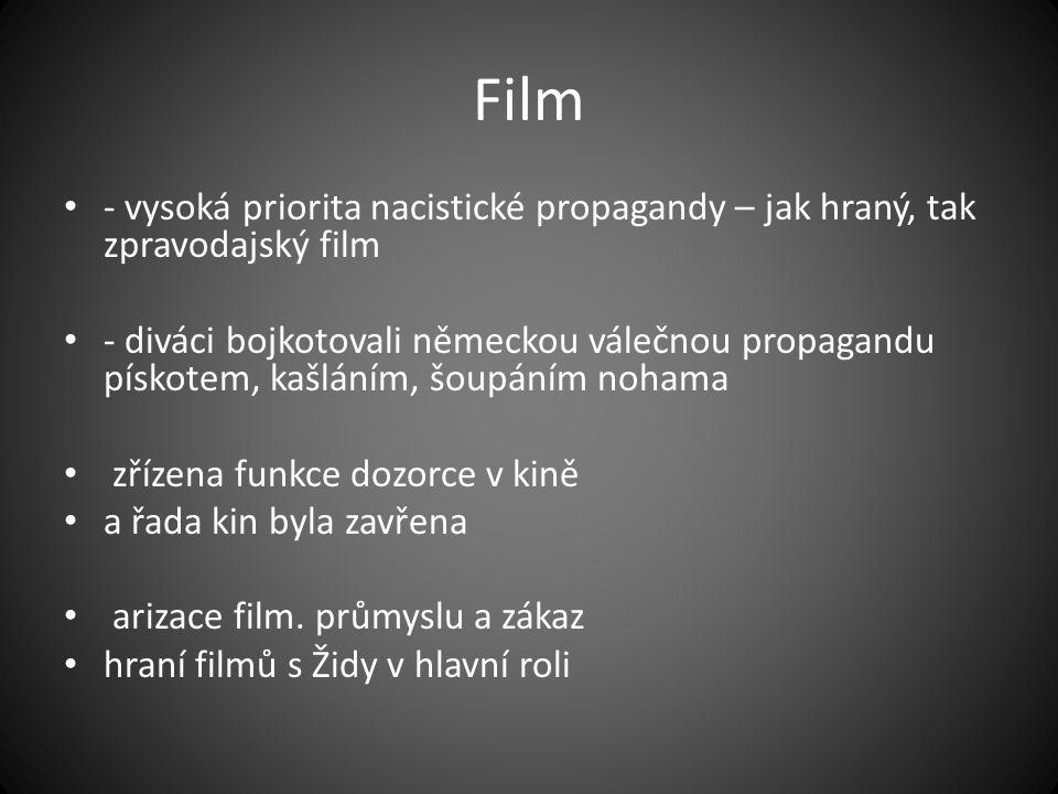 Film - vysoká priorita nacistické propagandy – jak hraný, tak zpravodajský film - diváci bojkotovali německou válečnou propagandu pískotem, kašláním,