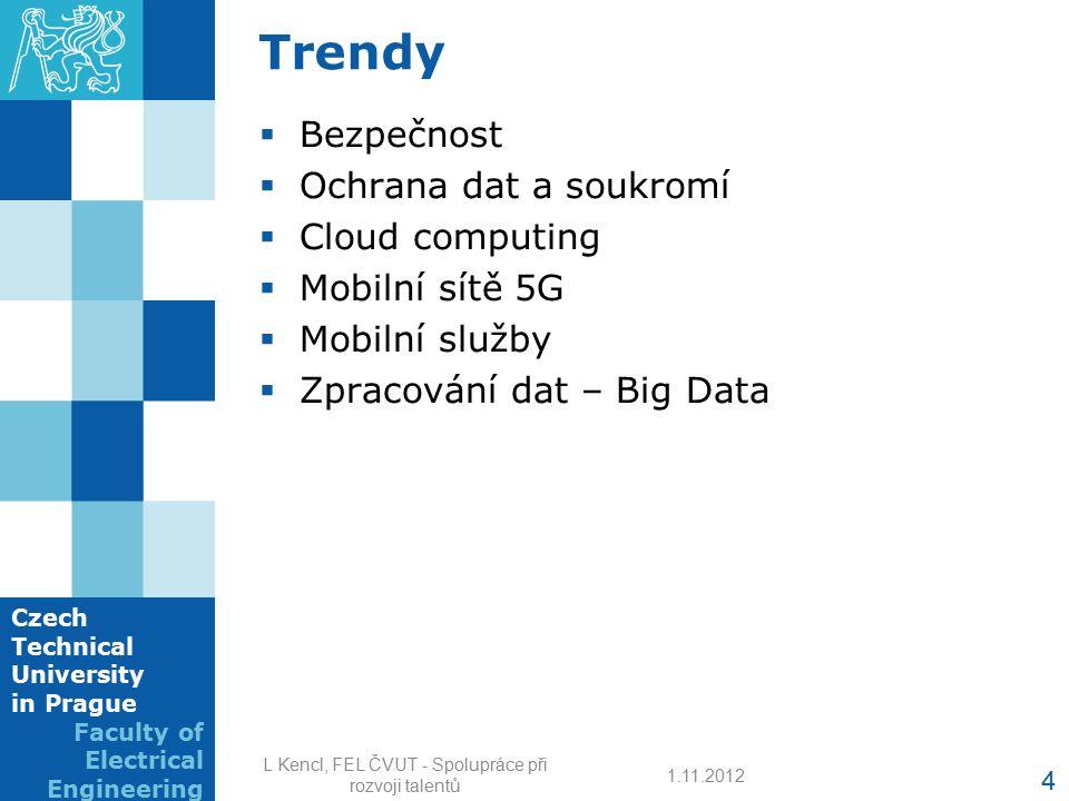 Czech Technical University in Prague Faculty of Electrical Engineering Trendy  Bezpečnost  Ochrana dat a soukromí  Cloud computing  Mobilní sítě 5