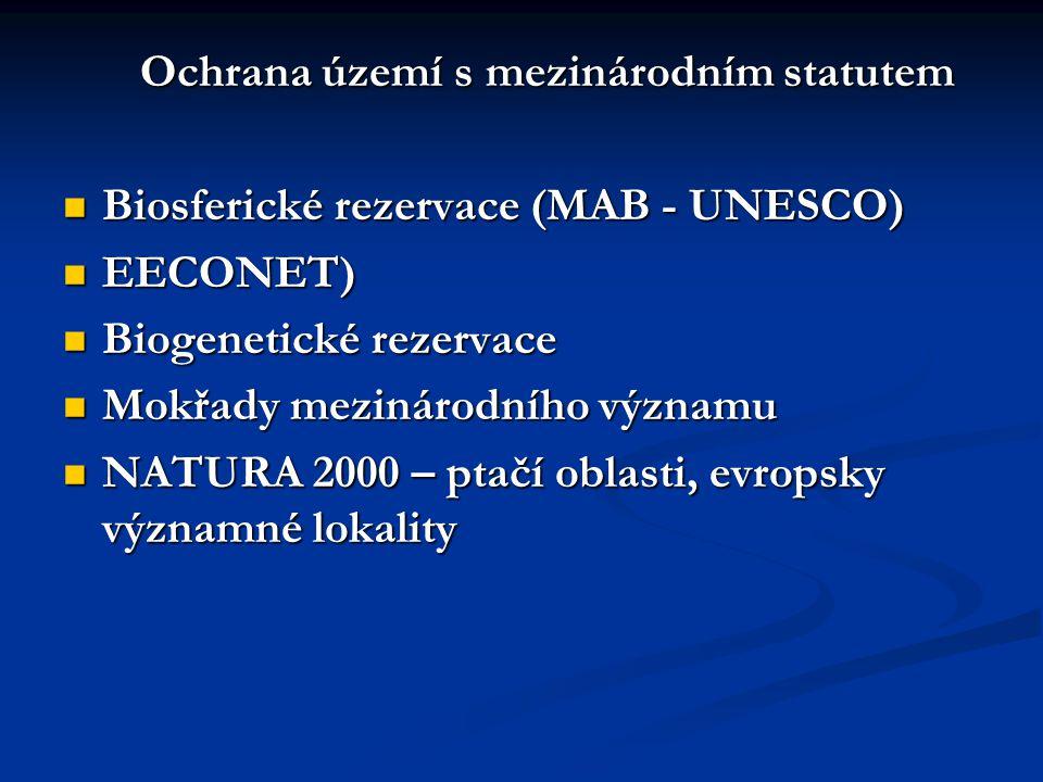 Ochrana území s mezinárodním statutem Biosferické rezervace (MAB - UNESCO) Biosferické rezervace (MAB - UNESCO) EECONET) EECONET) Biogenetické rezervace Biogenetické rezervace Mokřady mezinárodního významu Mokřady mezinárodního významu NATURA 2000 – ptačí oblasti, evropsky významné lokality NATURA 2000 – ptačí oblasti, evropsky významné lokality