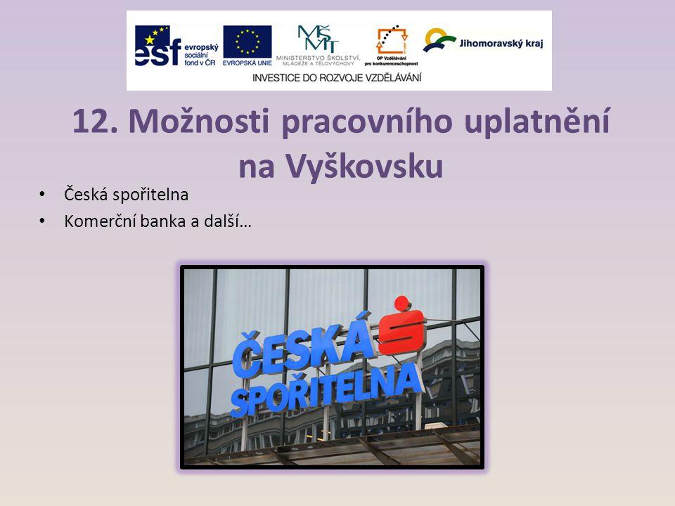 12. Možnosti pracovního uplatnění na Vyškovsku Česká spořitelna Komerční banka a další…