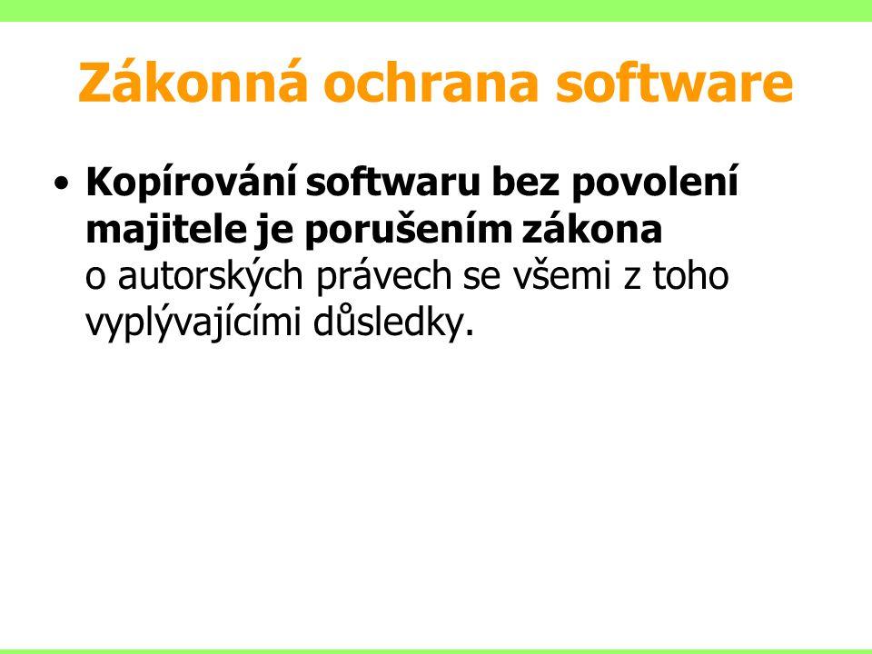 Zákonná ochrana software Kopírování softwaru bez povolení majitele je porušením zákona o autorských právech se všemi z toho vyplývajícími důsledky.