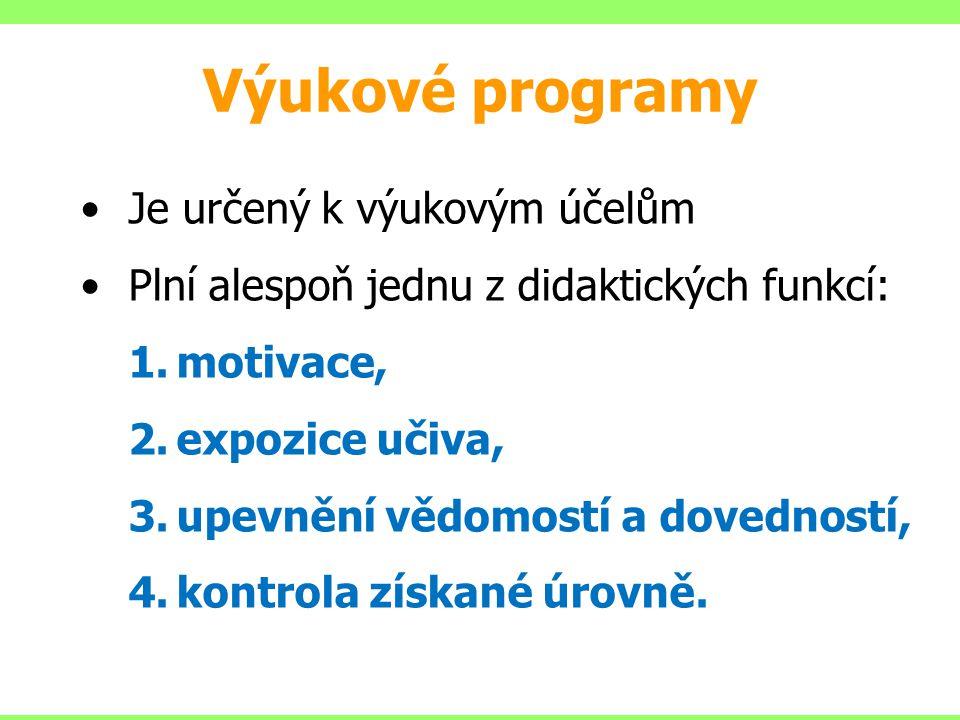 Je určený k výukovým účelům Plní alespoň jednu z didaktických funkcí: 1.motivace, 2.expozice učiva, 3.upevnění vědomostí a dovedností, 4.kontrola získ