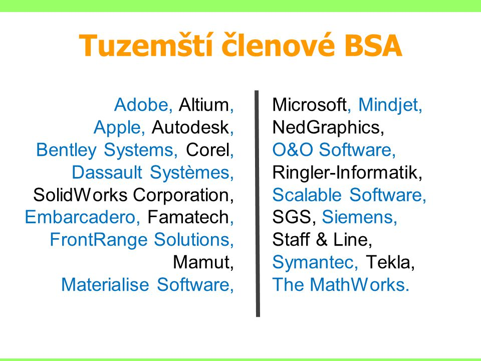 Tuzemští členové BSA Adobe, Altium, Apple, Autodesk, Bentley Systems, Corel, Dassault Systèmes, SolidWorks Corporation, Embarcadero, Famatech, FrontRange Solutions, Mamut, Materialise Software, Microsoft, Mindjet, NedGraphics, O&O Software, Ringler-Informatik, Scalable Software, SGS, Siemens, Staff & Line, Symantec, Tekla, The MathWorks.