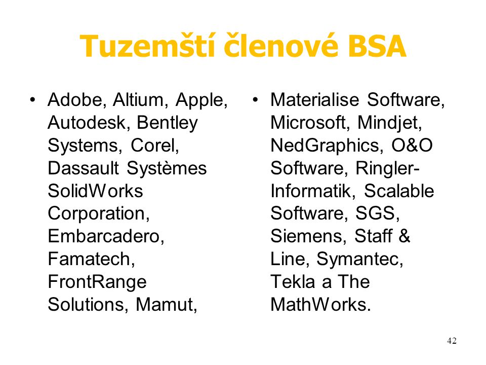 Tuzemští členové BSA Adobe, Altium, Apple, Autodesk, Bentley Systems, Corel, Dassault Systèmes SolidWorks Corporation, Embarcadero, Famatech, FrontRange Solutions, Mamut, Materialise Software, Microsoft, Mindjet, NedGraphics, O&O Software, Ringler- Informatik, Scalable Software, SGS, Siemens, Staff & Line, Symantec, Tekla a The MathWorks.
