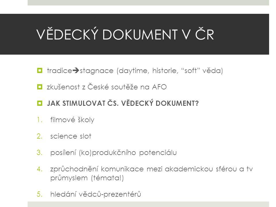 VĚDECKÝ DOKUMENT V ČR  tradice  stagnace (daytime, historie, soft věda)  zkušenost z České soutěže na AFO  JAK STIMULOVAT ČS.